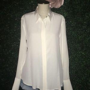 Claridge + King silk off white top